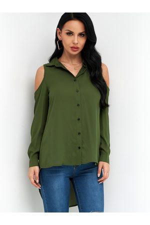 YOINS Plain Classic Collar Cold Shoulder High Low Hem Shirt