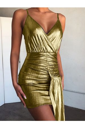 YOINS Golden Ruched Crossed Front Design With Irregular Hem Spaghetti Strap Dress