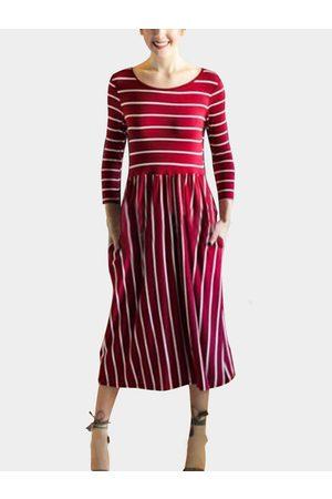 YOINS Stripe Round Neck Pleated Hem Bodycon Midi Dress