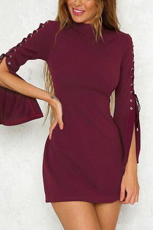 YOINS Round Neck Lace-up Slit Sleeve Mini Dress