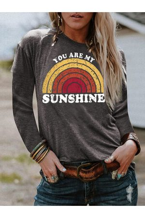 YOINS Graphic Round Neck Long Sleeves Tee