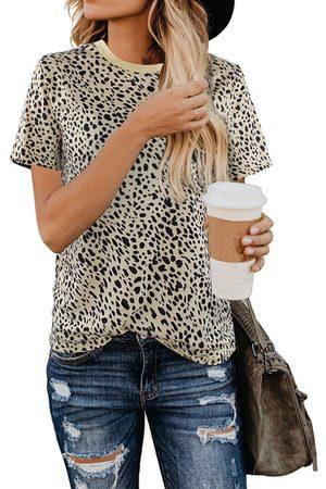 YOINS Leopard Round Neck Short Sleeves Tee