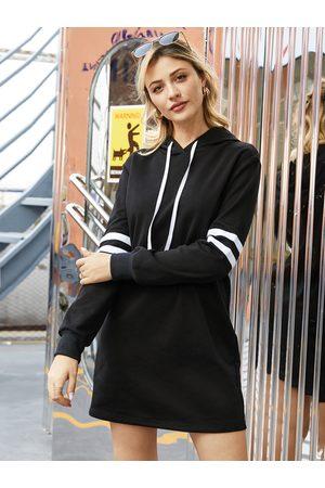 YOINS Black Patch Stripe Long Sleeves Hoodie