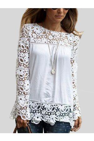 YOINS Floral Lace Pattern Stitching Chiffon T-shirt