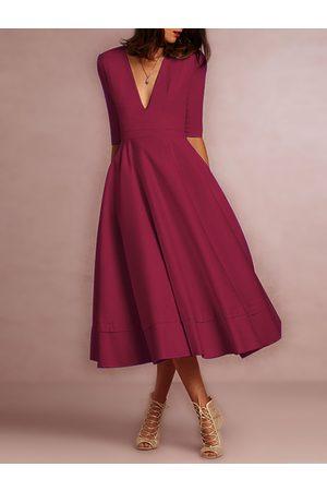 YOINS Deep V Neck Half Sleeves Swing Party Dresses