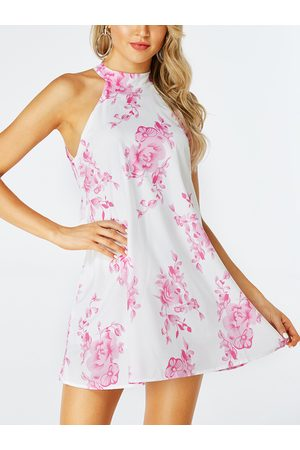 YOINS Random Floral Tie-up Design Halter Sleeveless Dress