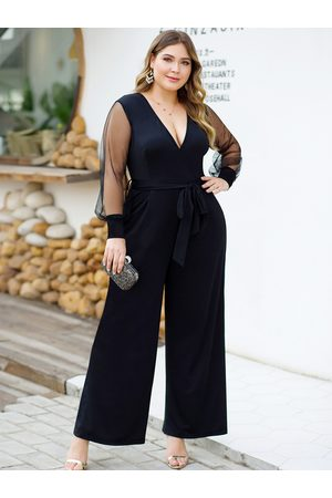 YOINS Plus Size Belt Design Deep V Neck Mesh Jumpsuit