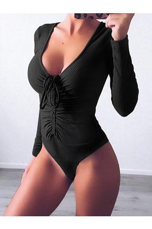 YOINS Ruched Deep V Neck Long Sleeves Bodysuit