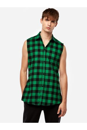 YOINS Street Style Green Grid Zipper Design Classic Collar Sleeveless High-low and Splited Hem Men's Tank