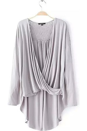 YOINS Wrap Front High Low Hem Lace Insert Top in