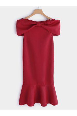YOINS Bowknot Off the Shoulder Flounced Hem Midi Dress
