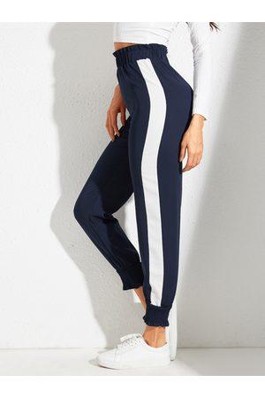 YOINS Navy Patch Stripe Stretch Waistband Pants