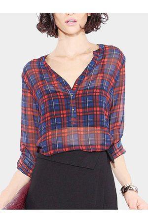 YOINS Classic Sheer Check Print Long Sleeve Shirt