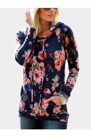 YOINS Casual Floral Print Front Pockets Hoodie