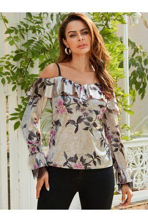 YOINS Apricot Random Floral Print Lace Insert Velvet Blouse