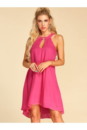YOINS Rose Round Neck Cut Out Sleeveless Dress
