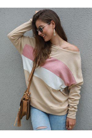 YOINS Color Block Wide Round Neck Sweatshirt