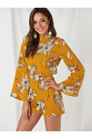 YOINS Backless Design Random Floral Print Turtleneck Flared Sleeves Playsuit