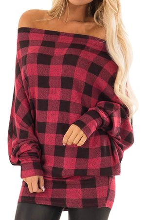 YOINS Check Off The Shoulder Long Sleeves Tee