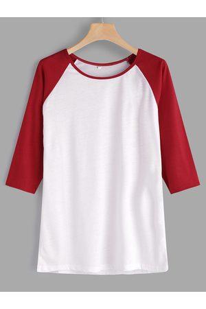 YOINS Plain Crew Neck 3/4 Length Sleeves T-shirt