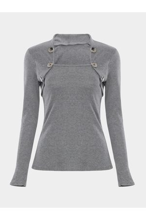 YOINS Stand Collar Long Sleeves Top with Button Details