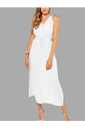 YOINS Sleeveless Back Lace-up Side Split Beach Maxi Dress In