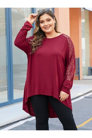 YOINS Plus Size Red Lace Patchwork Long Sleeves Tee