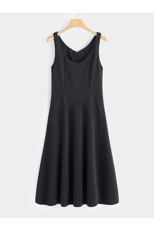 YOINS Zip Design Plain Scoop Neck Sleeveless Middle-waisted Dress