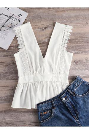 YOINS V-neck Lace-up Design Lace Trim Pleated Vest