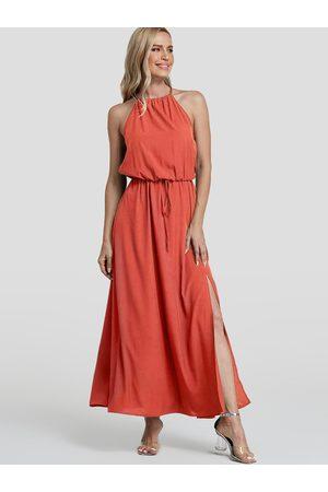 YOINS Split Design Plain Halter Sleeveless Middle-Waisted Dress