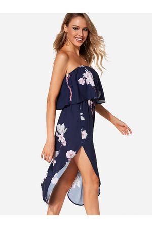 YOINS Backless Design Random Floral Print Off Shoulder Dress