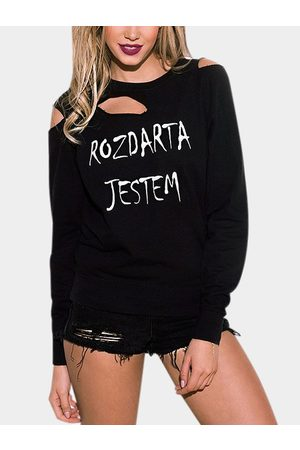 YOINS Round Neck Letter Pattern Ripped Long Sleeves Sweatshirt