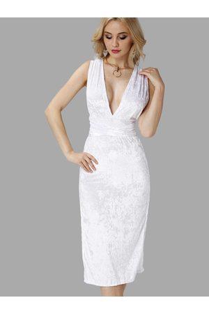 YOINS Velvet Deep V Neck Backless Slit Hem Party Dress