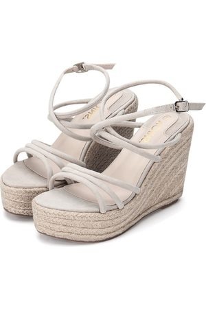 YOINS Apricot Suede Look Crossing Straps Wedge Sandals