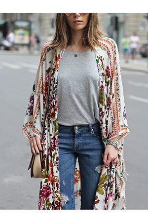 YOINS Women Kimonos - Multicolor Tropical Asymmetrical Hem Kimono