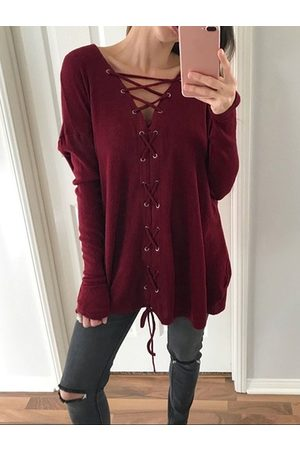 YOINS Casual Lace-up Design V-neck Long Sleeves Tee