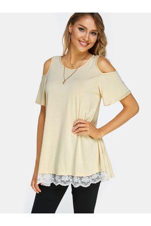 YOINS Lace Hem Cold Shoulder Short Sleeves T-shirt Dresses