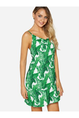YOINS Backless Design Random Leaf Print V-neck Sleeveless Dress
