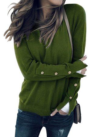 YOINS Button Design Slit Details Crew Neck Long Sleeves T-shirts