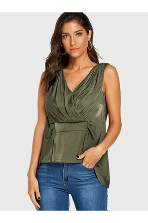 YOINS V-neck Pleated Button Design Vest