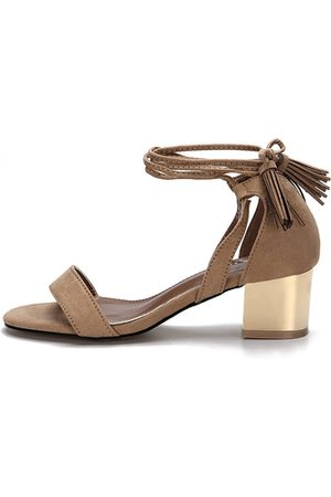 YOINS Apricot Single Strap Front Block Heel Lace-up Tassel Sandals
