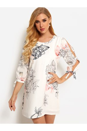 YOINS Cut Out Random Floral Print 3/4 Length Sleeves Mini Dress