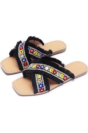 YOINS Tassel Jewelled Design Slippers