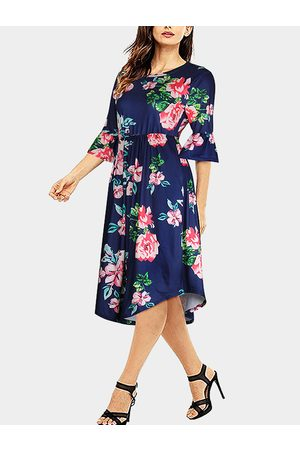 YOINS Floral Print Round Neck Flared Sleeves Midi Dress