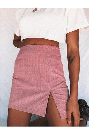 YOINS Corduroy Slit Design Plain Skirt
