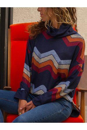 YOINS Color Block Geo Turtleneck Knit Top