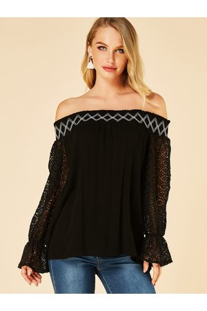 YOINS Lace Insert Off The Shoulder Bell Sleeves T shirt