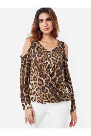 YOINS Leopard Cold Shoulder Draped Silhouette Top