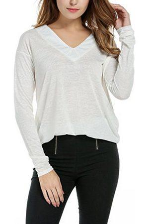 YOINS Women Long Sleeve - Basic Style Beige V Neck Long Sleeves Loose T-shirt