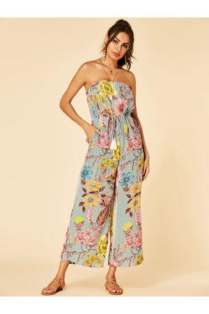 YOINS Strapless Design Floral Print Sleeveless Drawstring Waist Jumpsuit
